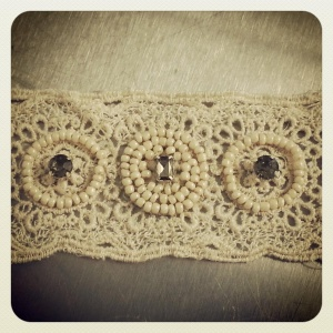Hand beaded bridal garter on 100% cotton lace embroidered trim